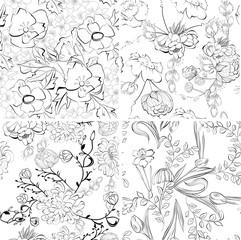 Set of floral seamless wallpaper