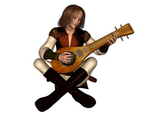 Young Medieval Minstrel with Lute