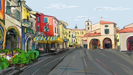 old town - illustration sketch