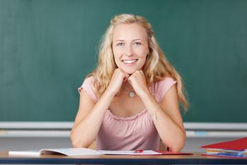 junge lehrerin in der schule
