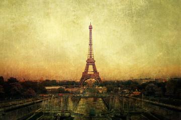 Fotomurales - Pariser Ansicht im vintage-Look