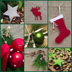 Weihnachtliche Collage in Grün und Rot