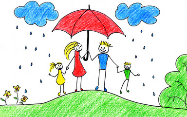 Family with umbrella