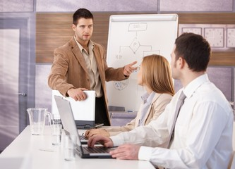 Confident businessman presenting to colleagues