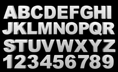 Silver full 3d alphabet with numerals.On a black background