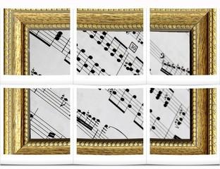 Spartito musicale incorniciato, collage
