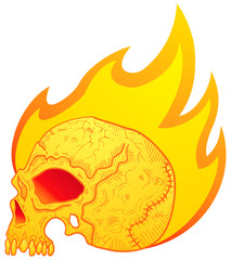 Illustration of the skull in flames
