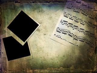 Spartito musicale, polaroid, texture grunge