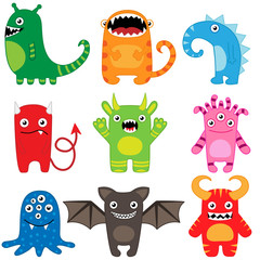 Set of different cute funny cartoon monsters