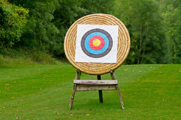 Archery shooting target in the forest
