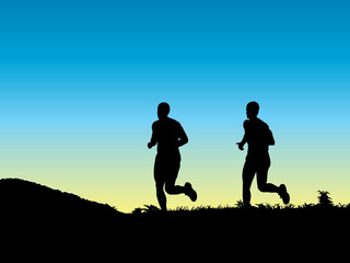 Two young men jogging