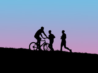 Jogging and biking .Exercise in the evening