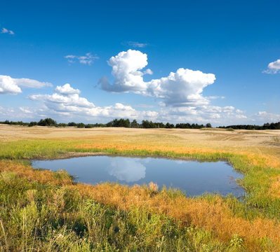 small lake in steppe