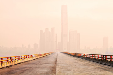 Bridge to downtown in the fog