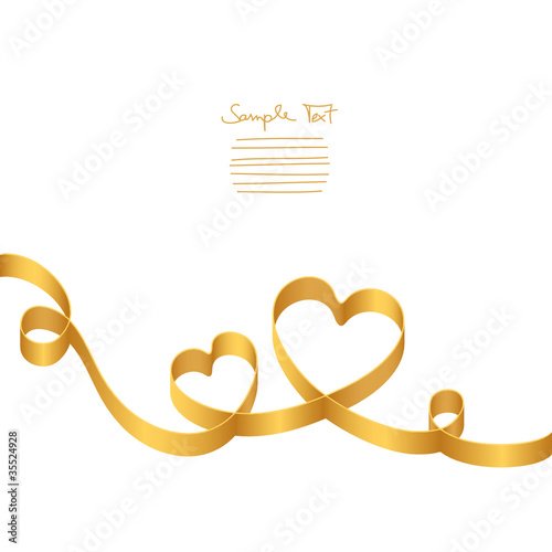 """Gold Ribbon 2 Hearts & Swirls"" Stock image and royalty ..."