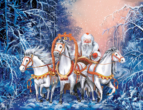 A russian triple of horses with Santa Claus in winter forest