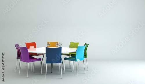 Esstisch stühle bunt  Wohndesign - Esstisch mit bunten Stühlen