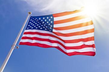 Drapeau américain, soleil