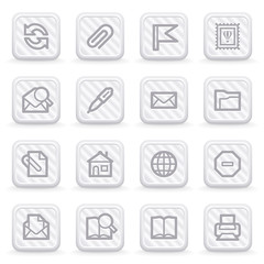 E-mail web icons on gray buttons.