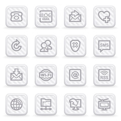 Communication icons on gray buttons.