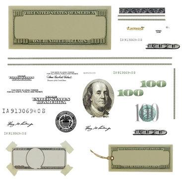 Photo hundred dollar bill elements isolated on white background