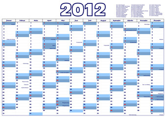 Kalender 2012 mit gesetzlichen Feiertagen in Deutschland