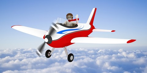 Printed roller blinds Airplanes, balloon White man flying in the sky, over the clouds