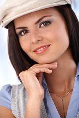 Closeup portrait of beautiful smiling woman