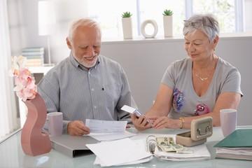 Senior couple calculating family budget