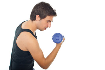 Man doing exercise with dumb bell