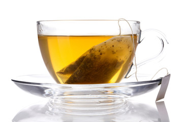 Cup of green tea white background