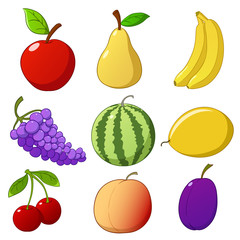 Set cartoon hand drawn fruits