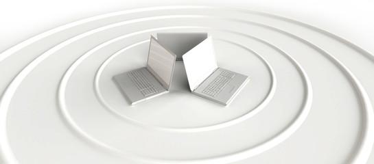 Three notebooks sending wireless signal