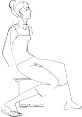 sketch girl sitting on the chair