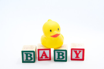 Baby Blocks and Duck over white