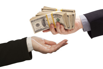 Handing Over Cash to Other Hand on White