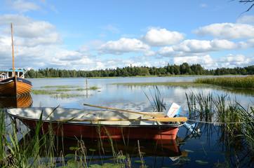 Moreed boat near Trollhättan (Sweden)