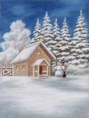 House in forest and snowman