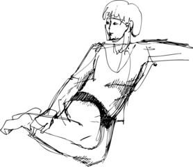 sitting on a sofa