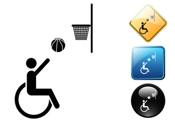 Paralympic basket pictogram and signs