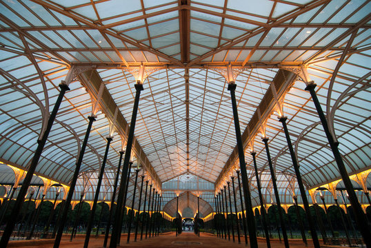 The glass house at the Lal Bagh gardens in Bangalore, India