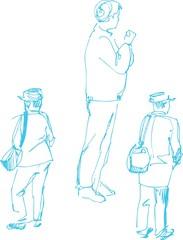 sketch of fellow dark blue by a pencil