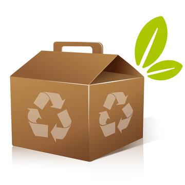 vecteur, boite en carton recyclable