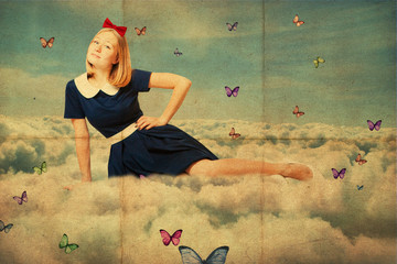 collage. beauty oun woman on the sky, in clouds