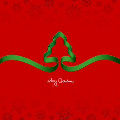 Green Ribbon Christmas Tree & Snowflakes Red Background