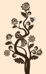 vintage floral background with decorative bird