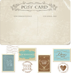 Vintage Postcard and Postage Stamps - for wedding design, invita