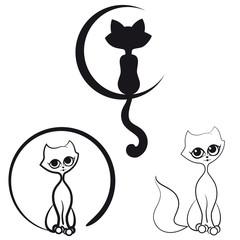 Set of contour cats