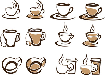 vector collection of tea and coffee