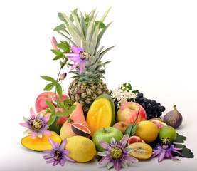 Many varieties of fruits on white background